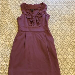 Purple ruffle front work dress